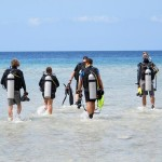 IDC candidates about to do a shore dive at Trawangan Slope.