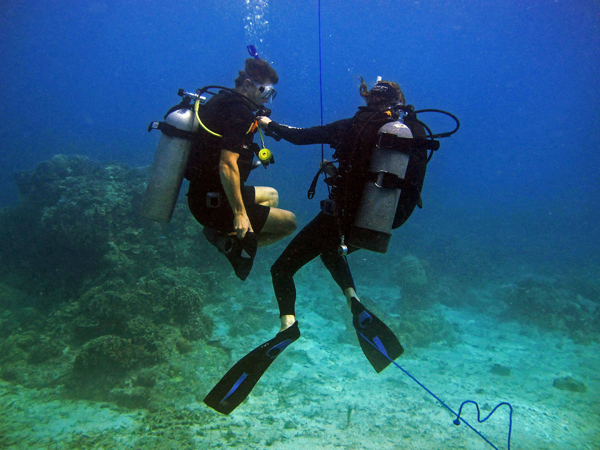 An IDC candidate practicing the hover exercise during the open water skill session of the PADI IDC.